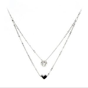 Silver small love circle crystal necklace